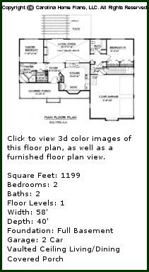 3D Images For CHP-SG-1199-AA - Small Ranch 3D House Plan Views