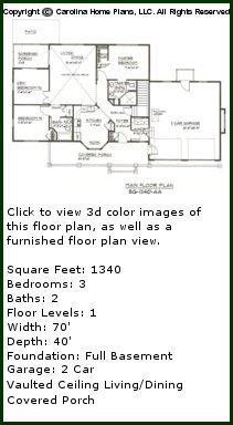3D Images For CHP-SG-1340-AA - Small Craftsman Style 3D House Plan Views