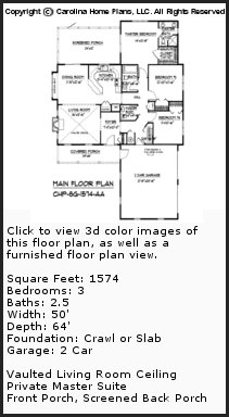 3D Images For CHP-SG-1574-AA - Small Country Style 3D House Plan Views