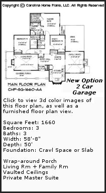 3D Images For CHP-SG-1660-AA - Small Craftsman Cottage 3D House Plan Views