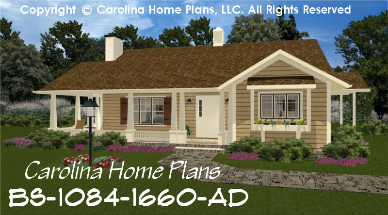 Build in stages small house plan bs 1084 1660 ad sq ft for 2 bedroom one story house plans