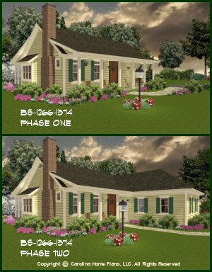 CHP-BS-1266-1574-AD<br /> Small Expandable Country House Plan<br />2-3 Bedrooms, 1½-2½ Baths, 1 Story