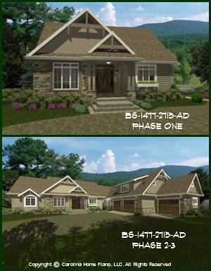CHP-BS-1477-2715-AD<br />Expandable Craftsman House Plan<br />1-4 Br + Study, 1-3 B, 1 Br Apartment