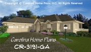 CHP-CR-3191-GA<br />Large Contemporary Ranch House Plan <br />4 Bdrms + Study, 3 Baths, 2 Story-Down