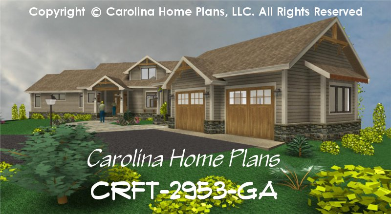 Large craftsman style house plan crft 2953 sq ft luxury for 2 story house plans with loft