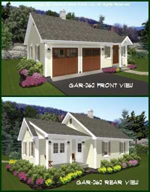 CHP-GAR-262-AD<br />Country Style Garage-Workshop Plan<br />2-Car & Workshop