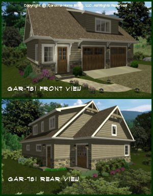 CHP-GAR-781-AD<br />Craftsman Garage-Apartment Plan<br />1 Bedroom, 1 Bath, 3-Car, 2 Story