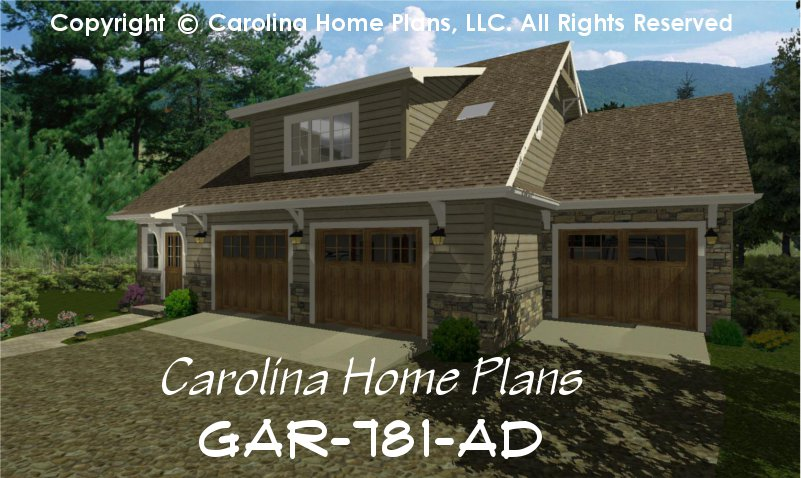 Craftsman garage apartment plan gar 781 ad sq ft small for Craftsman house plans 3 car garage