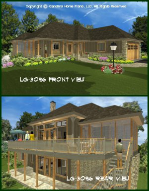 CHP-LG-3096-GA<br />Large Hillside Ranch Home Plan<br />4 Br + Study, 3 Baths, 2 Story - Down
