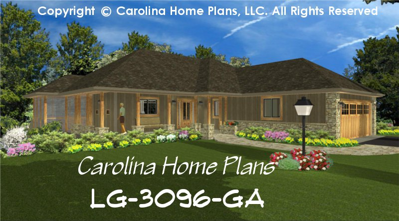 Large Hillside Ranch Home Plan Chp Lg 3096 Ga Sq Ft Luxury Home Plan Under 3100 Sq Ft