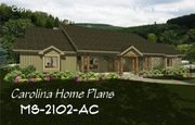 CHP-MS-2102-AC<br />Midsize Country Craftsman House Plan <br />2 Br, Study + Bonus Rm, 3 Baths, 1-Story