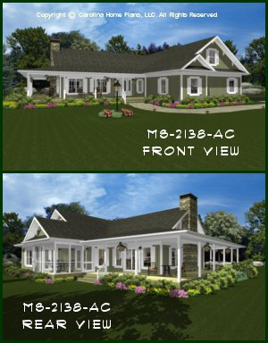 CHP-MS-2138-AC<br />Midsize Country Cottage House Plan <br />2 Br + Bonus Rm, 2&#189; Baths, 1-Story