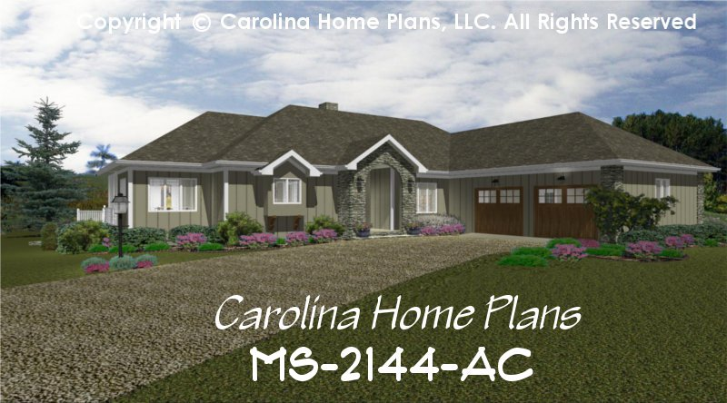 Midsize Contemporary Ranch Style Home Plan Ms 2144 Ac Sq
