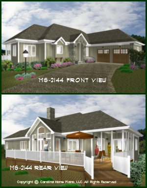CHP-MS-2144-AC<br />Midsize Contemporary Prairie-Style Ranch House Plan <br />2 Bdrms + Study, 2 Baths, 1 Story