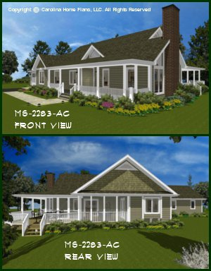 CHP-MS-2283-AC<br />Midsize Country Style House Plan <br />2 Br + Study, 2 Baths, 1-Story