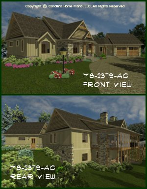 CHP-MS-2379-AC<br />Midsize Craftsman House Plan <br />2 Br + Study, 3 Baths, 1-Story