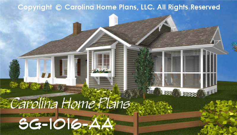 Small cottage style house plan sg 1016 sq ft affordable for 1 bedroom cottage house plans