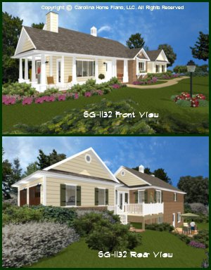 CHP-SG-1132-AA<br />Small Brick Country House Plan<br />2 Br, 2; Baths, 1 Story