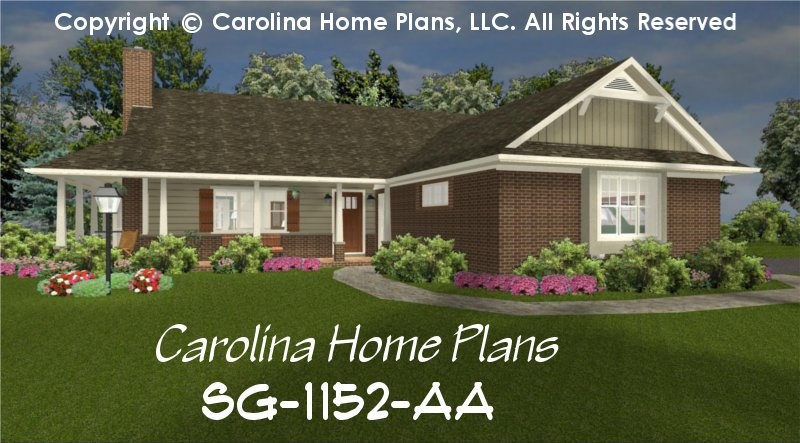 Small brick ranch style house plan sg 1152 sq ft for 1 story brick house plans