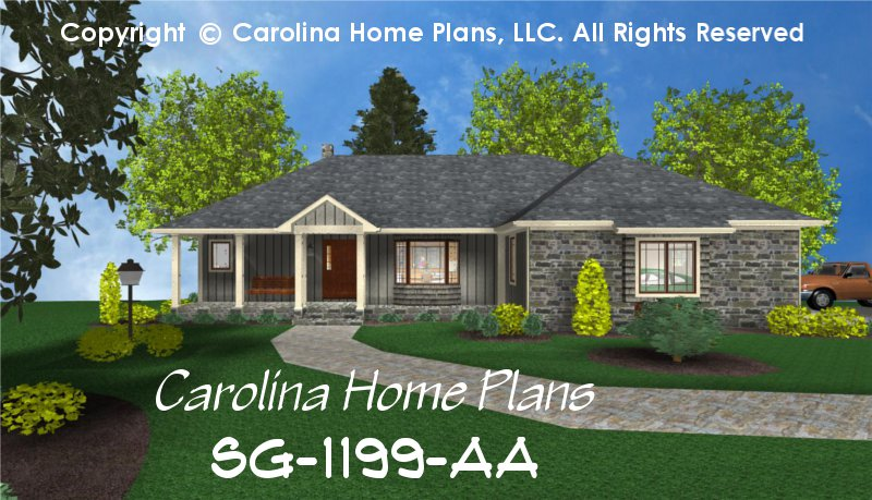 Small ranch style house plan sg 1199 sq ft affordable for 2 story ranch style home