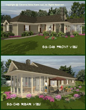 CHP-SG-1248-AA<br />Small Country Ranch House Plan <br />2 Bedrooms, 2 Baths, 1 Story