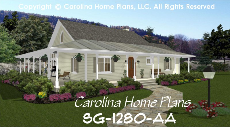 Small country cottage house plan sg 1280 aa sq ft for Affordable one story house plans