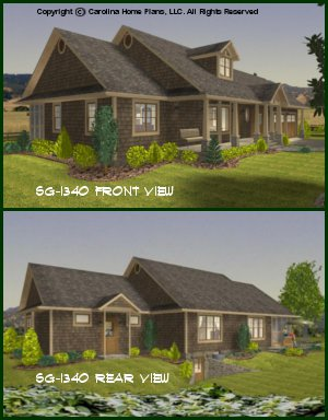 CHP-SG-1340-AA<br />Small Craftsman Style House Plan <br />3 Bedrooms, 2 Baths, 1 Story