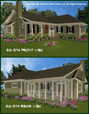 CHP-SG-1574-AA<br />Small Country Style House Plan<br />3 Bedrooms, 2&#189; Baths, 1 Story