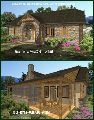 chp sg 1576 aasmall stone cottage house plan - Small Cottage 2