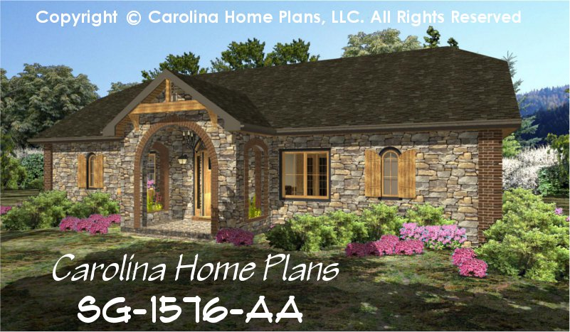 Small stone cottage house plan chp sg 1576 aa sq ft for Stone cottage plans