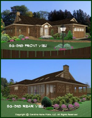 CHP-SG-1595-AA<br />Small Bungalow Style House Plan <br />3 Bedrooms, 2 Baths, 1 Story