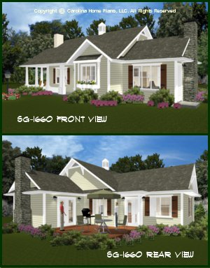 CHP-SG-1660-AA<br />Small Craftsman Cottage House Plan <br />3 Br, 3 Baths, 1 Story