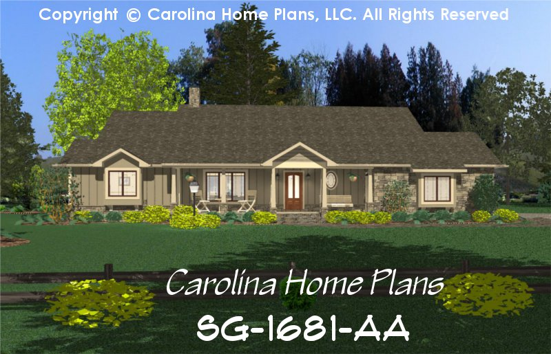 Small country ranch style house plan sg 1681 sq ft for One story ranch style home floor plans