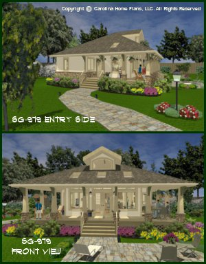 CHP-SG-979-AMS<br />Small Stone Craftsman Bungalow House Plan <br />2 Br, 2 Baths, 1 Story + Loft