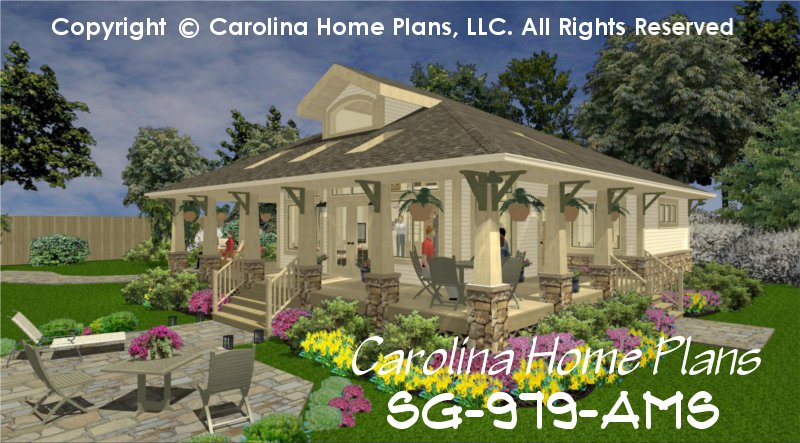 Small stone craftsman bungalow house plan chp sg 979 ams for Small craftsman bungalow house plans