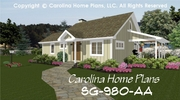 CHP-SG-980-AA<br />Small Contemporary Cottage House Plan <br />2 Br, 2 Baths, 1 Story