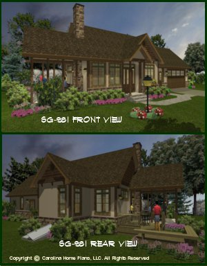 CHP-SG-981-AMS<br />Small Stone Craftsman Cottage House Plan <br />2 Br, 2 Baths, 1 Story