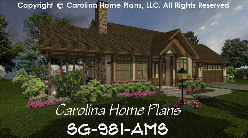 Small Stone Craftsman Cottage House Plan Chp Sg 981 Ams Sq