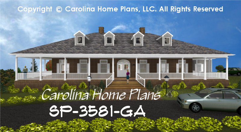 Large Southern Plantation Style House Plan 3 Bedrms + Den, 2½ Baths 2 Story  (Down)