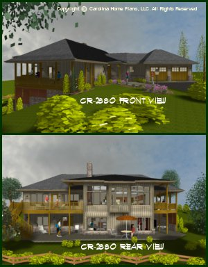 CR-2880-GA<br /> Large Contemporary Ranch House Plan<br />3 Bdrms + Study, 2&#189; Baths, 2 Story (Down)