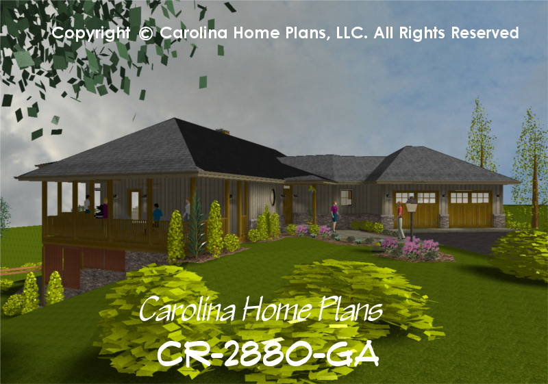 Good CR 2880 GAu003cbr /u003e Large Contemporary Ranch House Planu003cbr