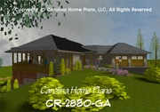 CR-2880-GA<br /> Large Contemporary Ranch House Plan<br />3 Bdrms + Study, 2½ Baths, 2 Story (Down)