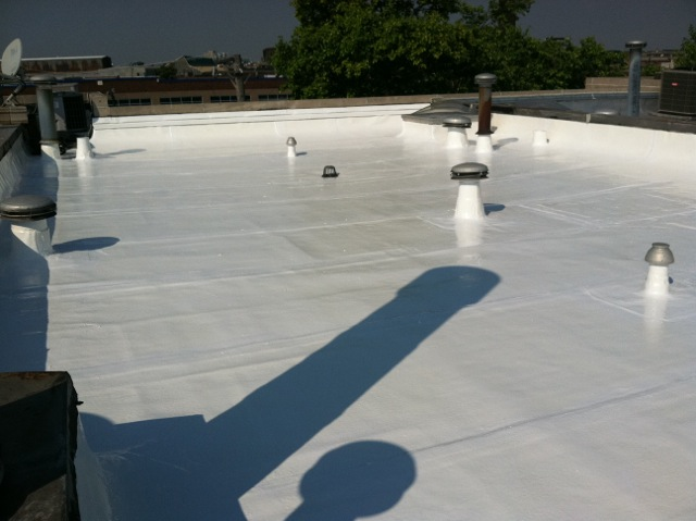 Ponding water roof coating for flat roofs waterproof for Flat roof waterproofing paint