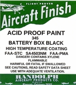RANDOLPH ACID PROOF BATTERY BOX BLACK PAINT #345 Quart
