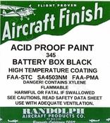 RANDOLPH ACID PROOF BATTERY BOX BLACK PAINT #345 16oz.