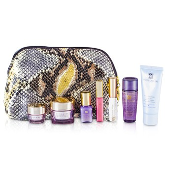 Estee Lauder Travel Set: Cleanser 30ml + Optimizer 30ml + Neck Cream 15ml + Serum 7ml + Eye Cream 5ml + Mascara #01 + Lip Gloss #26 + Bag