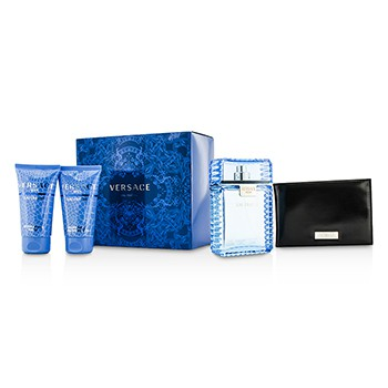 Versace Eau Fraiche Coffret: Eau De Toilette Spray 100ml/3.4oz + After Shave Balm 50ml/1.7oz + Bath Shower Gel 50ml/1.7oz + Black Wallet