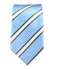 100% Silk Slim Tie by Paul Malone . Blue, Black a. White