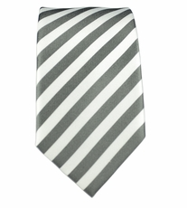 100% Silk Slim Tie by Paul Malone . Charcoal a. White