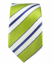 100% Silk Slim Tie by Paul Malone . Green, White a. Navy